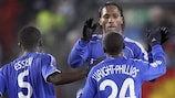 Michael Essien (left) joins in the Chelsea celebrations
