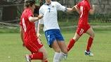 Azerbaijan (white) in action against Georgia