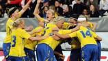 La Svezia festeggia la vittoria contro l'Italia a maggio