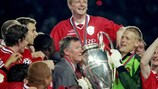 Peter Schmeichel lifts the UEFA Champions League trophy in 1999