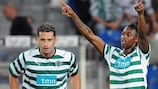 Yannick Djaló (right) scored both of Sporting's goals