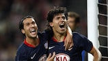 Sergio Agüero (right) celebrates after scoring one of his goals