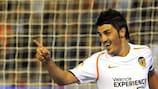 David Villa celebrates scoring against Deportivo