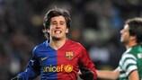 Bojan Krkić celebrates after rounding off Barcelona's win