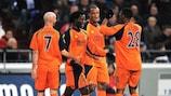 Benjani Mwaruwari (second left) celebrates after making it 1-0 in Gelsenkirchen