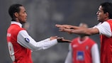 Albert Meyong and Matheus celebrate a Braga goal in the group stage