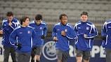 Die Mannschaft von Olympique Lyonnais beim Training