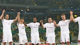 Bayern celebrate their imperious display in Lisbon