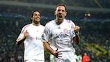 Franck Ribéry (right) celebrates his second goal with Luca Toni