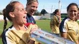 Christie Pampone, dos Estados Unidos, festeja a conquista da Algarve Cup