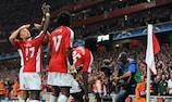 Arsenal celebrate their second goal