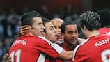 Theo Walcott is congratulated after making it 1-0