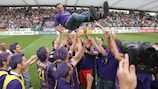 Darko Milanič is hoisted aloft by his victorious Maribor players