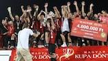 Honvéd celebrate winning the Hungarian Cup