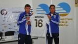 Maksim Shatskikh (left) with Lokomotiv coach Sergei Yuran