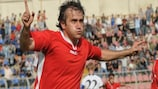 Olimpi's Giorgi Megreladze scored the first goal of the inaugural UEFA Europa League