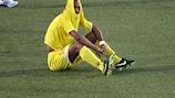 La déception de Sylvano Comvalius (Birkirkara FC) après son élimination par le NK Slaven Koprivnica