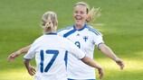 Finland's Sanna Talonen (No17) celebrates her opener with Laura Österberg-Kalmari