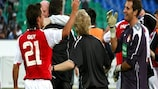 Ryan Guy (left) and goalkeeper Gary Rogers celebrate after St Patrick's secured progress in Russia