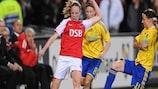 Brøndby setzte sich gegen Alkmaar durch, auch dank der Roten Karte für Annelies Zondag (links)