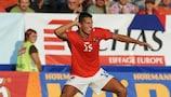 Milan Baroš celebrates a goal for the Czech Republic