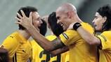 Daniel Majstorovic (centre) celebrates a goal against Benfica in last season's UEFA Europa League