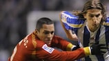Filipe Luís (right) in action for Deportivo last season