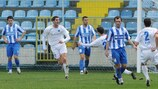Mornar Bar players celebrate during their 2-0 win against Budućnost
