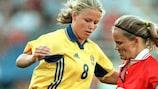 Malin Gustafsson (left) scored six times against Bosnia-Herzegovina