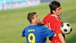 Gennadiy Orbu (FC Dacia Chişinău) et Oleg Sischin (FC Olimpia Bălţi)