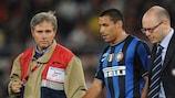 Inter defender Iván Cordoba limps off against Roma
