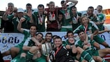 WIT players celebrate the club's maiden Georgian Cup triumph