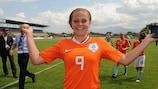 Lieke Martens celebrates after the Netherlands' 2-0 victory over France