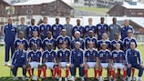 France coach Raymond Domenech poses with his 23-man squad for the finals in South Africa