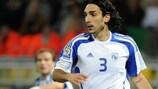 Omonia defender Elias Charalambous in action for Cyprus