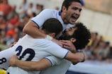 Zaal Eliava, Murtaz Daushvili and Nikoloz Gelashvili celebrate one of Zestafoni's five goals against Faetano