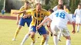 Teteks (white) in action in Ventspils in their second qualifying round tie