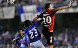 Joaquín Boghossian (right) shows his aerial prowess for Newell's Old Boys