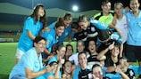 Apollon celebrating beating ASA Tel-Aviv 3-0 to win Group 3