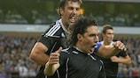 """Cordova Cleverson Gabriel """"Cleo"""" feiert das 1:0 für Partizan"""