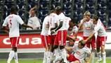 Salzburg players celebrate against Omonia