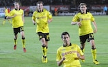 Dortmund's Nuri Şahin celebrates the opening goal of seven on an incredible night in Lviv