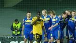 BATE celebrate Sergei Sosnovski's goal