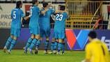 Zenit celebrate after Aleksei Ionov's goal