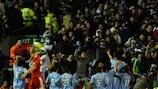 Napoli celebrate a goal against Liverpool