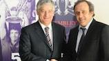 Football Association president David Bernstein and UEFA president Michel Platini in Nyon