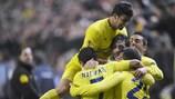 Los jugadores del Villarreal festejan el tanto de Giuseppe Rossi ante el Nápoles