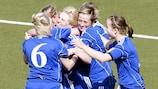 The Faroe Islands celebrate a goal in their 2-0 victory against Malta
