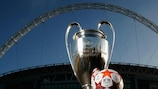 The UEFA Champions League trophy and final ball at Wembley