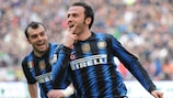 Giampaolo Pazzini wheels away in delight after scoring Inter's winner